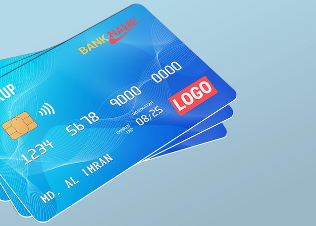 Debit card smart card plastic card mockup Premium Psd