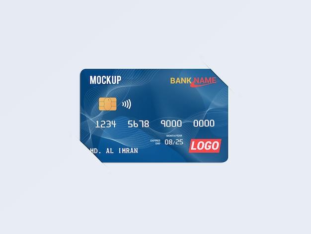 Debit card smart card plastic card in paper brackets mockup