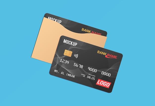 Debit card smart card plastic card in paper protector mockup