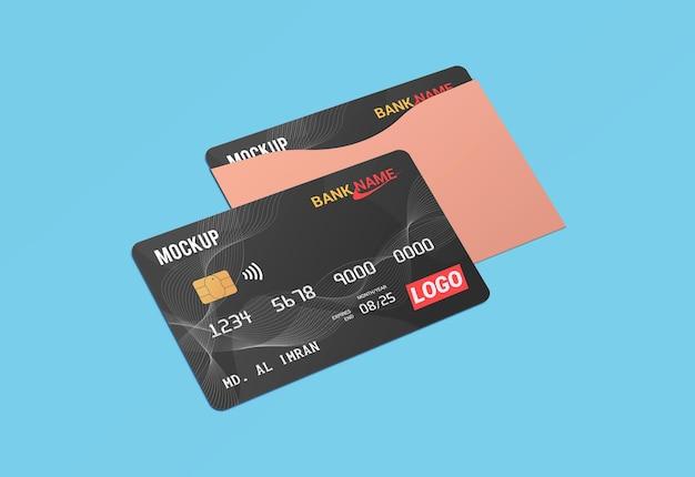 Debit card smart card plastic card in paper protector mockup Premium Psd