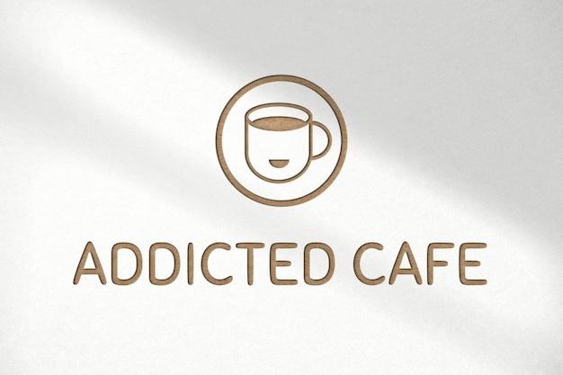 Deboss logo mockup psd for cafe on white background