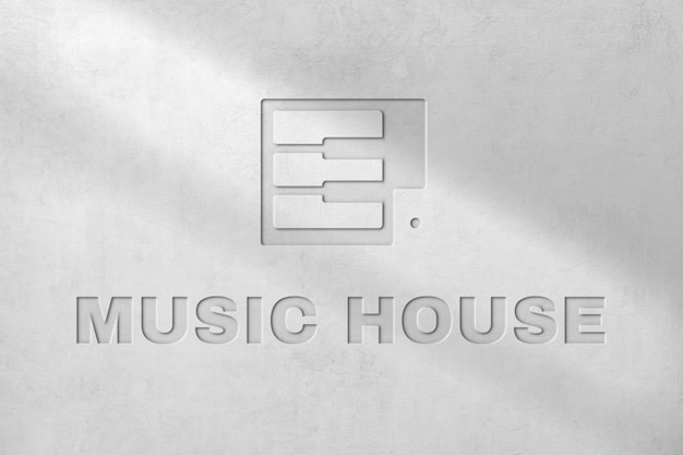 Deboss logo mockup psd per music house