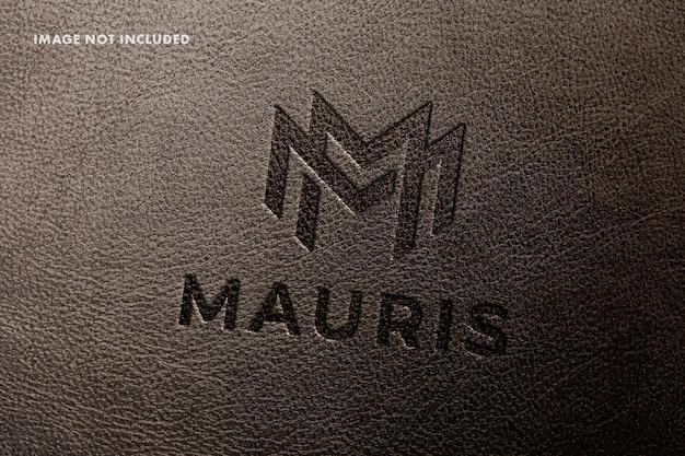 Макет логотипа из тисненой кожи