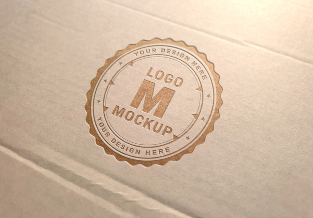 Debossed logo on carboard texture mockup