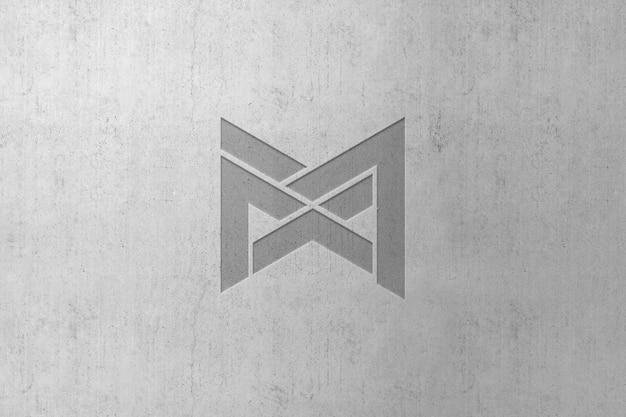 Debossed logo mockup on wall