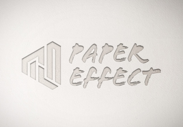 Debossed logo mockup on white paper texture