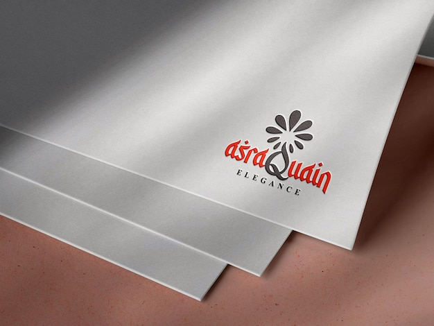 Debossed logo mockup on white paper