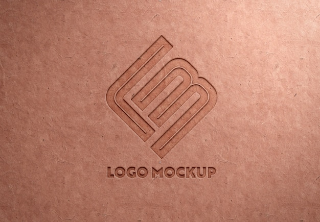 Debossed logo on recycled paper texture mockup