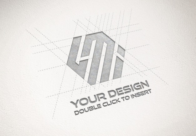 Debossed metallic logo on paper texture mockup