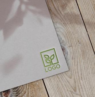 Debossed modern logo on paper mockup