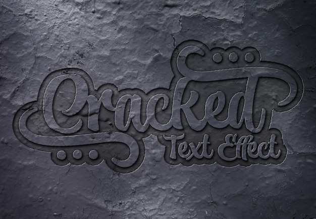Debossed text effect on cracked surface mockup