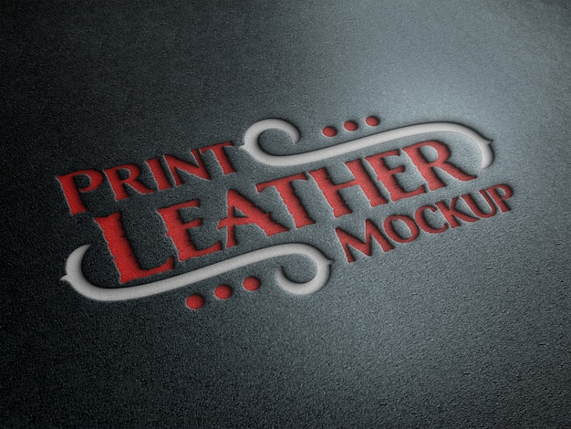 Debossed text effect on leather mockup