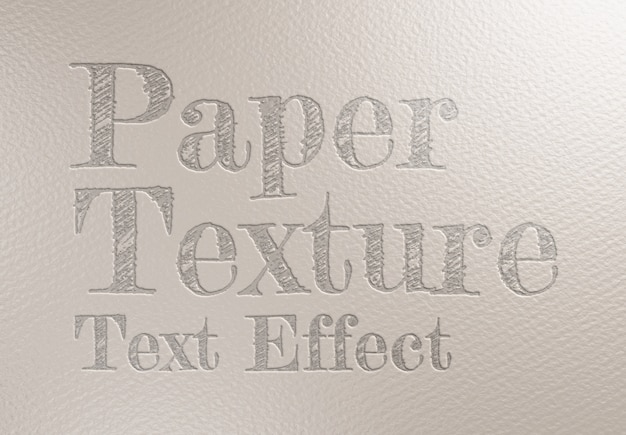 Debossed text effect on paper sheet texture mockup