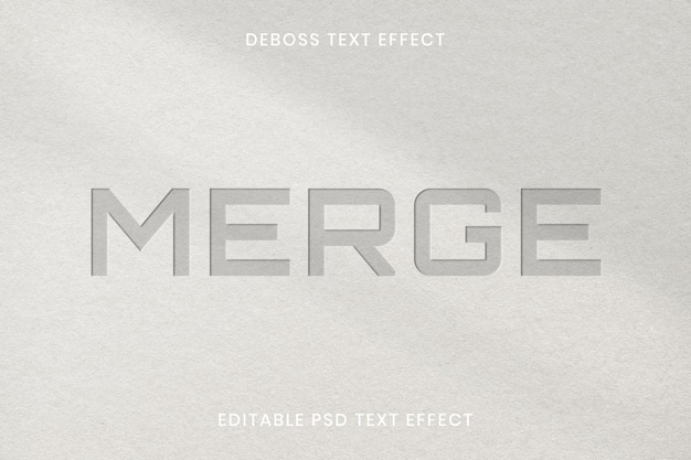 Debossed text effect psd editable template on paper texture background