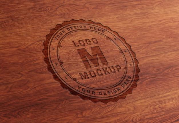 Debossed wood text effect mockup
