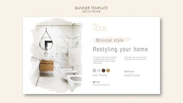 Deco home concept banner template