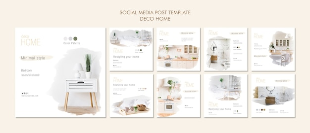 Deco home concept social media post template