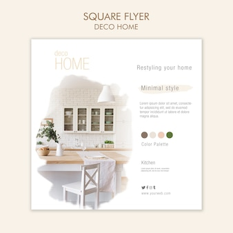 Deco home concept квадратный флаер шаблон