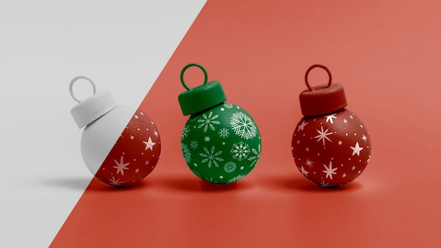 Decorated christmas globes mock-up