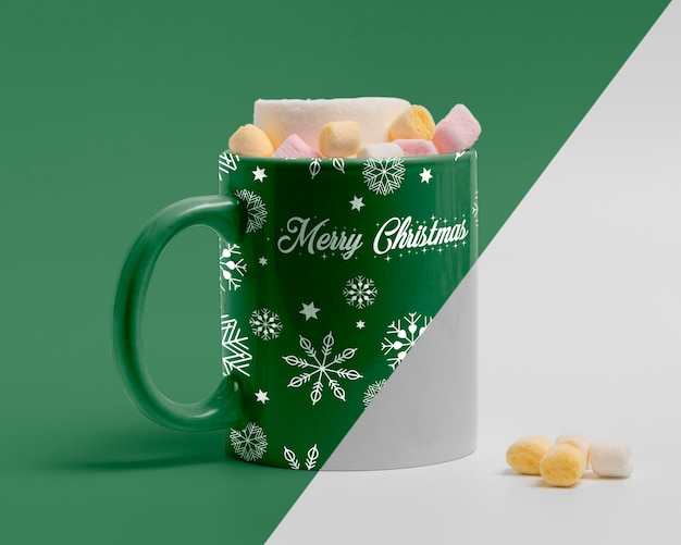 Decorated christmas mug mockup