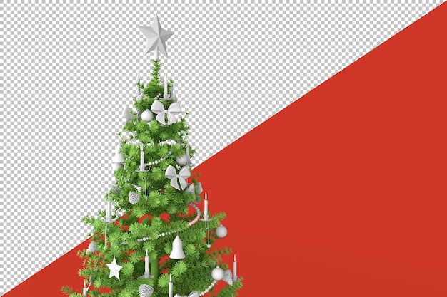 Decorated christmas tree in 3d rendering Premium Psd