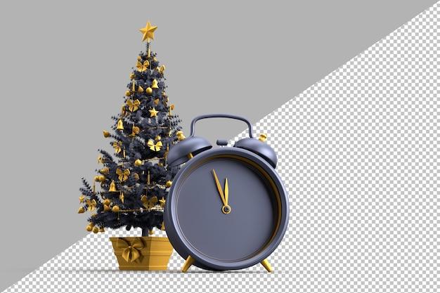 장식 된 크리스마스 트리 및 알람 시계