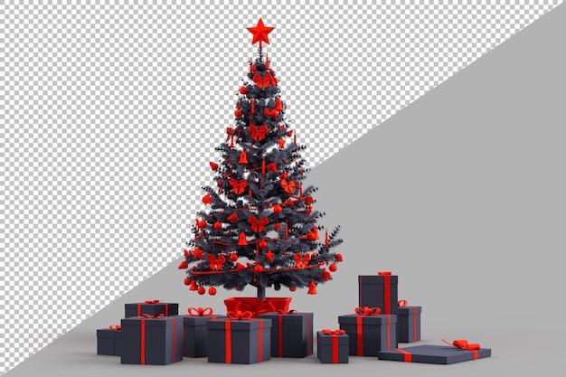 Украшенная елка с подарочными коробками