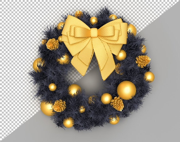 Decorated christmas wreath with pine cones and bow
