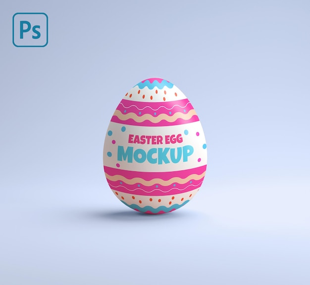 Decorated easter egg mockup on a blue background in 3d rendering