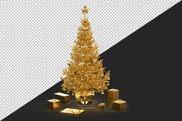 Decorated golden christmas tree with gift boxes