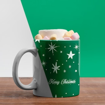 Decorated mug with delicious beverage