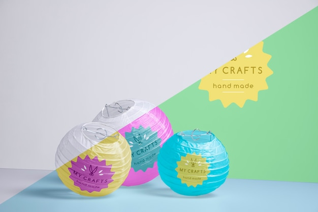 Decoration with colorful paper lamps