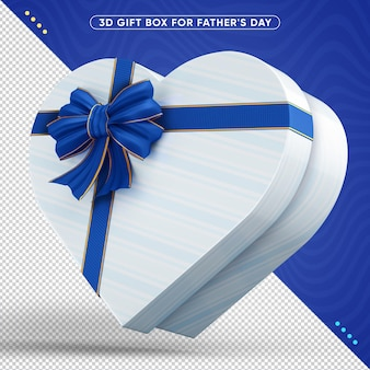 Decorative 3d gift box with blue ribbon for fathers day