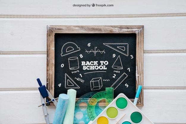 Decorative back to school mockup with slate