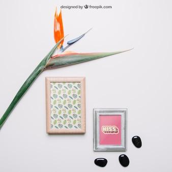 Decorative botanical mockup with two frames