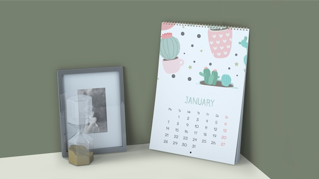 Decorative calendar mockup in corner