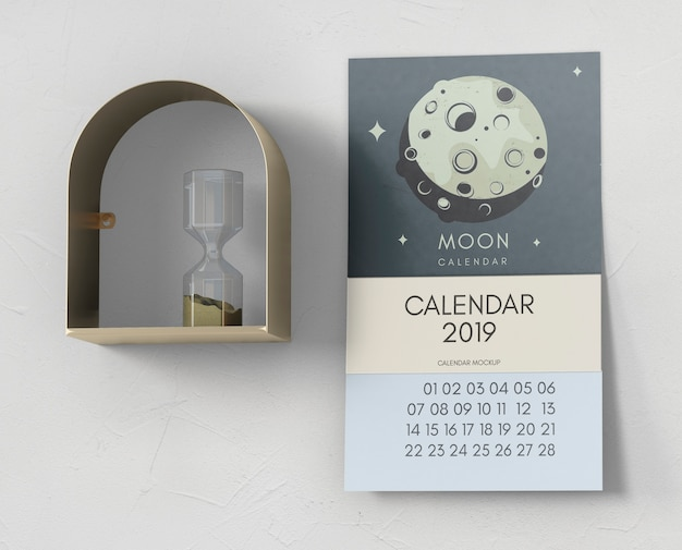 Decorative calendar mockup on wall