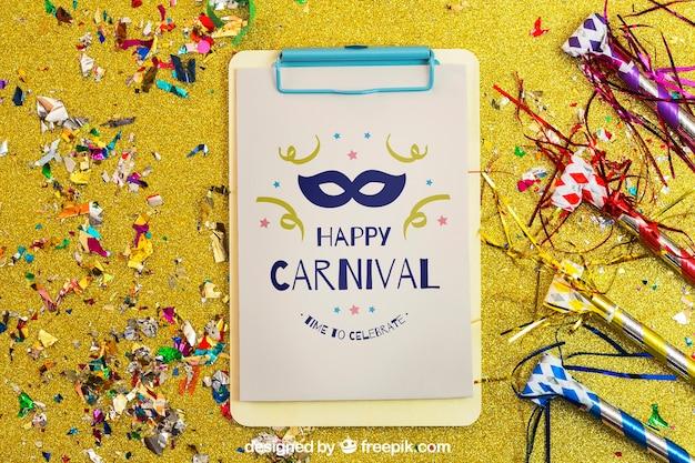 Decorative carnival mockup with clipboard and confetti