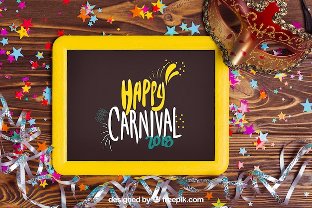 Decorative carnival mockup with slate