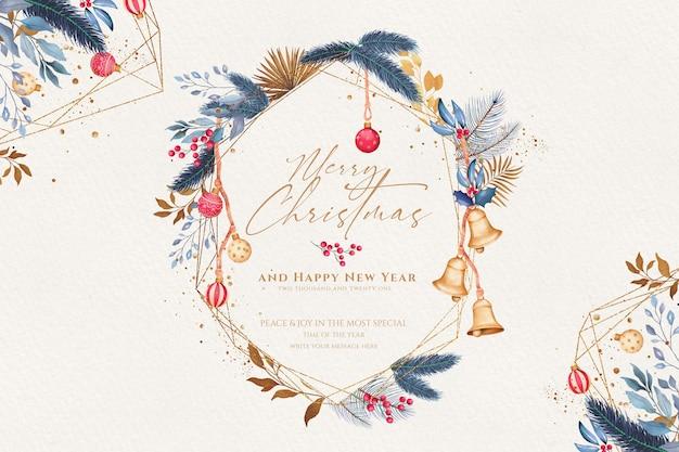 Декоративный новогодний фон с акварельными украшениями
