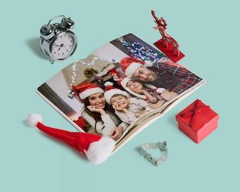 Decorative christmas magazine mockup