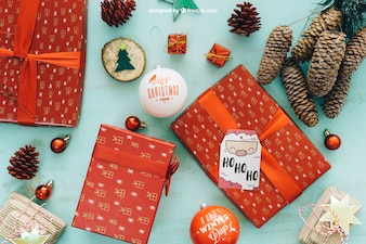 Decorative christmas mockup with present boxes
