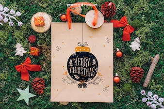 Decorative christmas mockup with shopping bag