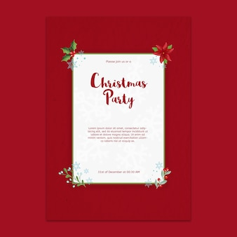 Decorative christmas party poster mockup