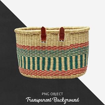 Decorative colorful wicker basket on transparent