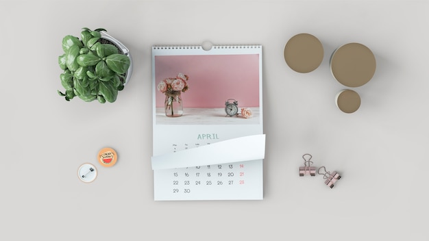 Decorative flat lay calendar mockup