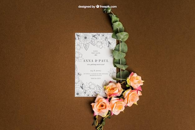 Decorative floral stationery wedding mockup