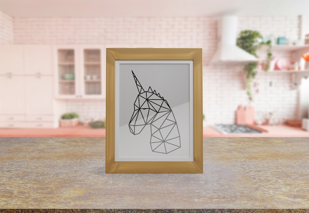 Decorative frame mockup on table at home