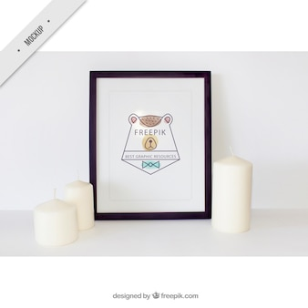 Decorative frame mockup with white candles