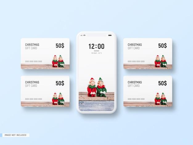 Decorative minimal phone mockup with christmas gift cards